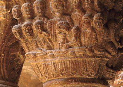 Sant Sopar. Capitell ubicat a la galeria nord del claustre del monestir de l'Estany